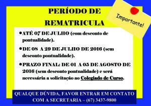 PERÍODO DE REMATRÍCULA